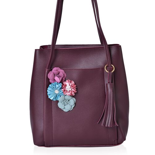 Handcrafted 3D Flowers Embellished Burgundy Colour Tote Bag with Tassel Charm (Size 26.5X25X11.5 Cm)