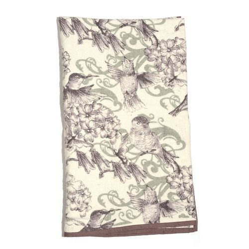 100% Cotton Flannel White and Multi Colour Humming Birds and Floral Pattern Plaid (Size 150x130 Cm)