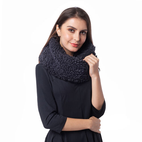Soft and Fluffy Faux Fur Infinity Scarf - (Size:20x80cm) - Black