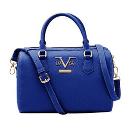 19V69 ITALIA by Alessandro Versace Litchi Pattern Bowling  Bag with Detachable Shoulder Strap and Zipper Closure (Size 28x21x12Cm) - Navy