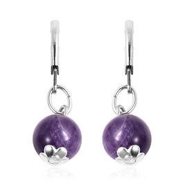 15 Carat Amethyst Bead Solitaire Drop Earrings in Silver Tone