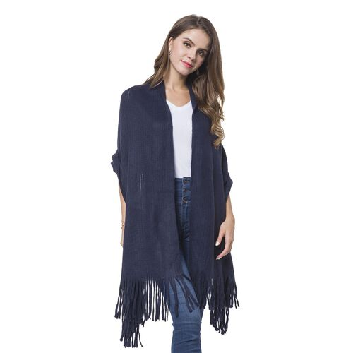 Italian Designer Inspired-Navy Colour Stripes Pattern Knitted Scarf with Tassels (Size 180X65 Cm)
