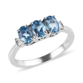 RHAPSODY 950 Platinum AAA Santa Maria Aquamarine (Ovl), Diamond (VS/E-F) Ring 1.35 Ct.