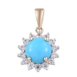 2.75 Ct AAA Sleeping Beauty Turquoise and Cambodian Zircon Halo Pendant in Rhodium Plated 9K Gold 1.