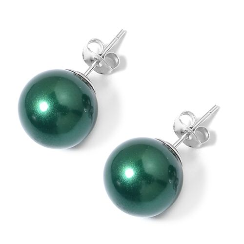 Russian Diopside Color Shell Pearl (Rnd) Graduated Necklace (Size 20), Adjustable Bracelet (Size 7) and Stud Earrings (with Push Back) in Rhodium Plated Sterling Silver