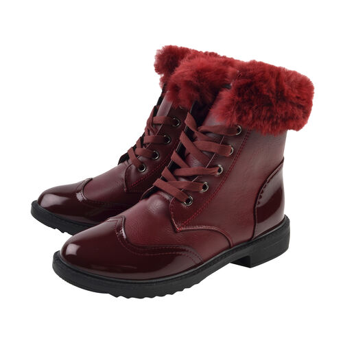 Warm Faux Fur Lace-up Winter Ankle Boots (Size 4) - Burgundy