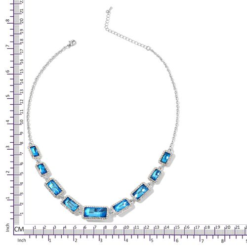 Simulated Blue Topaz and White Austrian Crystal Necklace (Size 20 with 3 Inch Extender) in Silver Tone