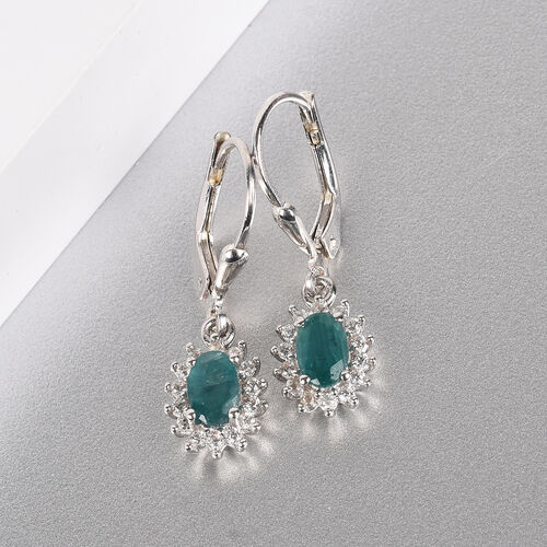 Grandidierite and Natural Cambodian Zircon Lever Back Halo Drop Earrings in Platinum Overlay Sterling Silver 1.25 Ct.