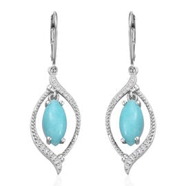 3.75 Ct Peruvain Amazonite Drop Earrings in Sterling Silver 4.83 Grams With Lever Back
