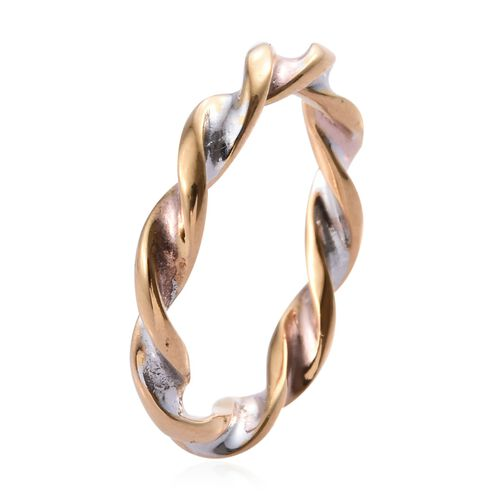 Designer Inspired- Tri Colour Platinum Overlay Twisted Ring in Sterling Silver