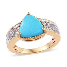 Arizona Sleeping Beauty Turquoise (Trl 9.5 mm), Natural Cambodian Zircon Ring in 14K Gold Overlay St