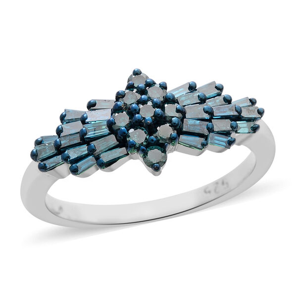 SGL Certified Blue Diamond (I2) (BGT) Ballerina Ring in Blue and Platinum Overlay Sterling Silver 1.