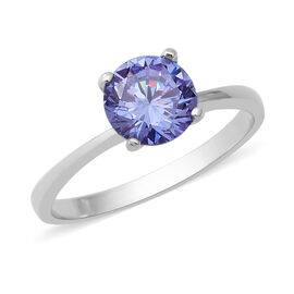 ELANZA Swiss Star Blue and Pink Cubic Zirconia Solitaire Ring in Rhodium Plated Sterling Silver