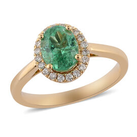 ILIANA 18K Yellow Gold AAA Boyaca Colombian Emerald and Diamond (SI/G-H) Ring 1.35 Ct, Gold wt. 3.69