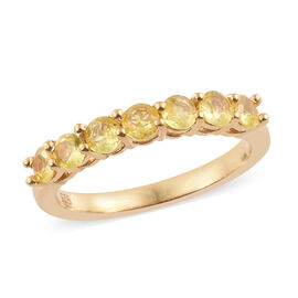 Yellow Sapphire (Rnd) Band Ring in 14K Gold Overlay Sterling Silver Ring 1.000 Ct.