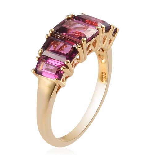 Rhodolite Garnet 5-Stone Ring in 14K Gold Overlay Sterling Silver 3.25 Ct.