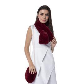 Ultra Soft Faux Fur Handbag and Scarf Set - (Bag size: 20x22cm) - Red