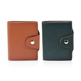 Set of 2 - Leather Credit Card Holder (Size 10x8 Cm) - Tan and Green