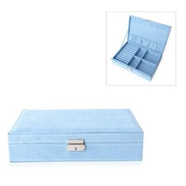 Velvet Multiple Compartment Jewellery Box with Lock (Size 28x18.5x6.5 Cm) - Light Blue