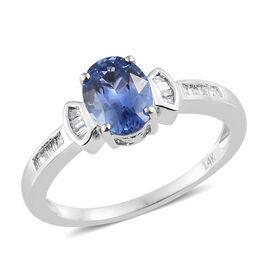 14K White Gold AA Royal Ceylon Blue Sapphire (Ovl 1.35 Ct), Diamond Ring 1.450 Ct