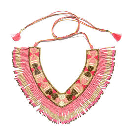 Handmade Fuchsia, Pink and Multi Colour Beads Adjustable Necklace (Size 20)