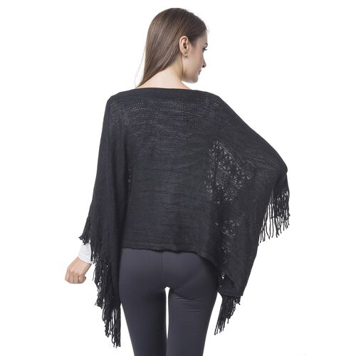 Simulated Pearl Embellished Black Colour Knitted Poncho with Tassels (Size 120X55 Cm)