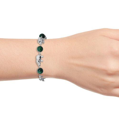Malachite and Elephant Bracelet (Size 7.5) in Platinum Plated 30.00 Ct.