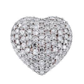1.01 Ct Diamond Heart Cluster Pendant in 9K Rose Gold 2 Grams