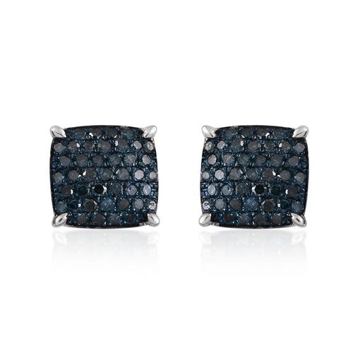 Blue Diamond (Rnd) Stud Earrings (with Push Back) in Platinum Overlay Sterling Silver 0.750 Ct.