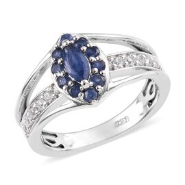 Burmese Blue Sapphire (Ovl 6x3 mm) and Natural White Cambodian Zircon Ring in Platinum Overlay Sterl