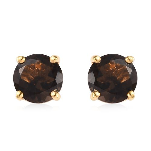 AA Brazilian Smoky Quartz (Rnd) Stud Earrings (with Push Back) in 14K Gold Overlay Sterling Silver 2