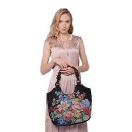 Floral Pattern Jute Handbag (40x11x29cm) - Black