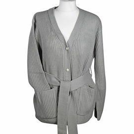LA MAREY 100% Acrylic Knit Cardigan with Waistband - Ash Grey