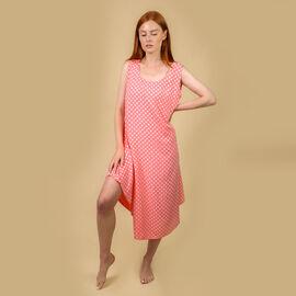 Nova of London Polka Dot Asymmetric Hem Dress - Coral and White