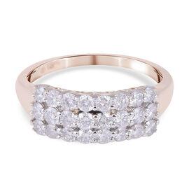14K Yellow Gold Diamond (I1-I2/ G-H) Cluster Ring 1.03 Ct.