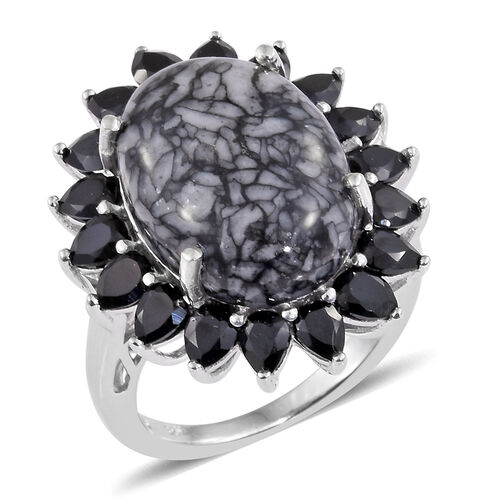 Austrian Pinolith (Ovl 12.70 Ct), Boi Ploi Black Spinel Ring in Platinum Overlay Sterling Silver 16.
