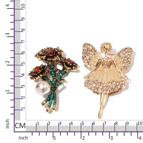 Set of 2 - Simulated Pearl (Rnd), Multi Colour Austrian Crystal Brooch in Gold Tone
