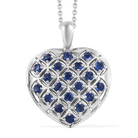 Kashmir Blue Kyanite (Rnd) Heart Pendant With Chain (Size 18) in Platinum Overlay Sterling Silver 2.400 Ct, Silver wt 8.02 Gms.