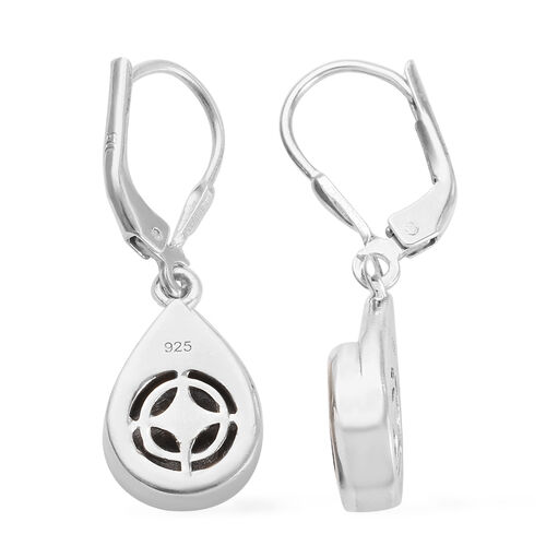 Tucson Special - Meteorite (Rnd) Drop Lever Back Earrings in Platinum Overlay Sterling Silver