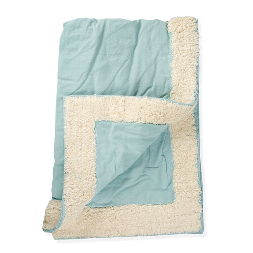 100% Cotton Teal and Cream Colour Tufted Bed Cover with Fringes (Size 260X240 Cm) and 2 Pillow Cases(Size 70X50 Cm)