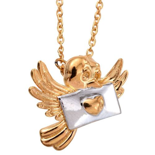 Pigeon Post 2 Tone Silver Pendant with Chain in Platinum and Gold Overlay.
