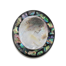 Cameo (Ovl) and Abalone Shell Brooch in Silver Tone