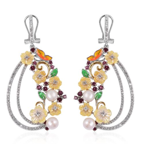 JARDIN COLLECTION -Yellow Mother of Pearl, Freshwater White Pearl, Rhodolite Garnet and Multi Gemsto
