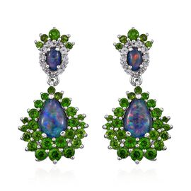 GP Boulder Opal (Pear and Ovl), Russian Diopside, Blue Sapphire and Natural Cambodian Zircon Earring