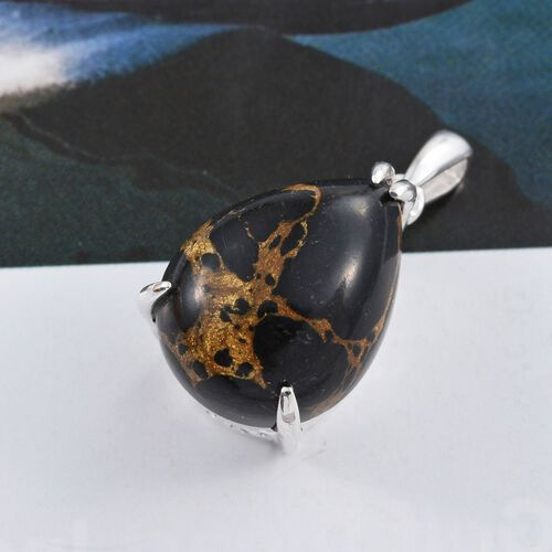 Arizona Mojave Black Turquoise (Pear) Pendant in Sterling Silver 7.500 Ct.