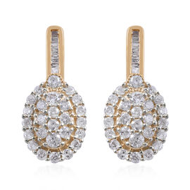 9K Yellow Gold SGL CERTIFIED Diamond (Rnd) (I3 / G-H) Earrings (with Push Back) 1.00 Ct.