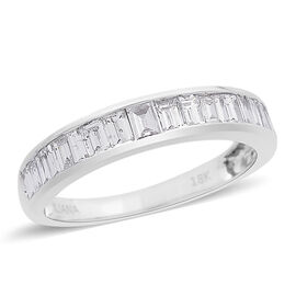 ILIANA 18K W Gold IGI Certified Diamond (Bgt) (SI/G-H) Half Eternity Band Ring 1.000 Ct.