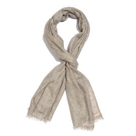 Cashmere and Merino Wool Blend Beige Colour Scarf with Fringes Size 200X65 Cm