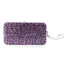 Purple Colour Leopard Pattern Phone Case with RFID Blocking Card Slots Clutch (Size 17.5x9.5x2.5 Cm)