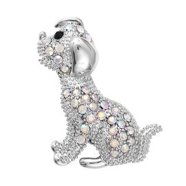 Simulated Mystic White Austrian Crystal and Black Austrian Crystal Dog Brooch in Silver Tone